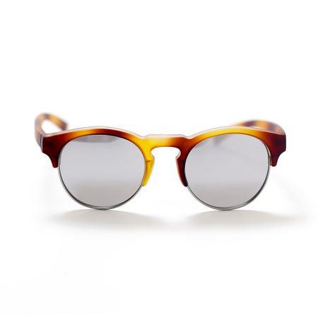 Óculos Haste Caramelo Lente Prata Espelhada