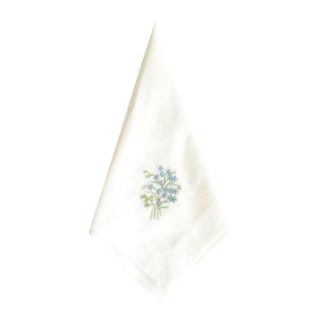 Kit de 4 ou 6 Guardanapo Bordado Flor Azul