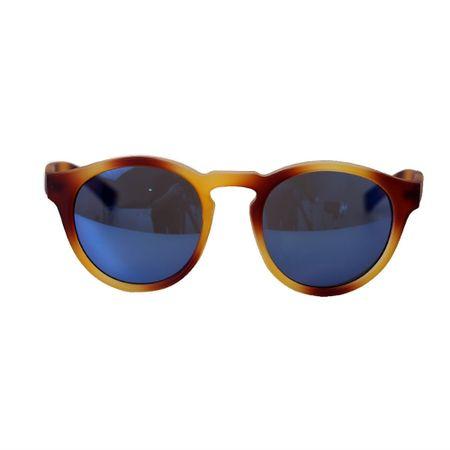 Óculos Lente Espelhada Azul Haste Caramelo