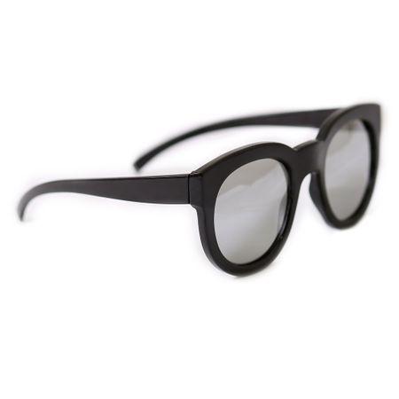 Óculos Quadrado Preto Com Lente Prata