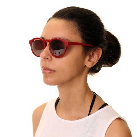 Óculos Redondo Vermelho Fosco