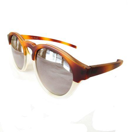 Óculos Redondo Caramelo-Transparente Lente Prata