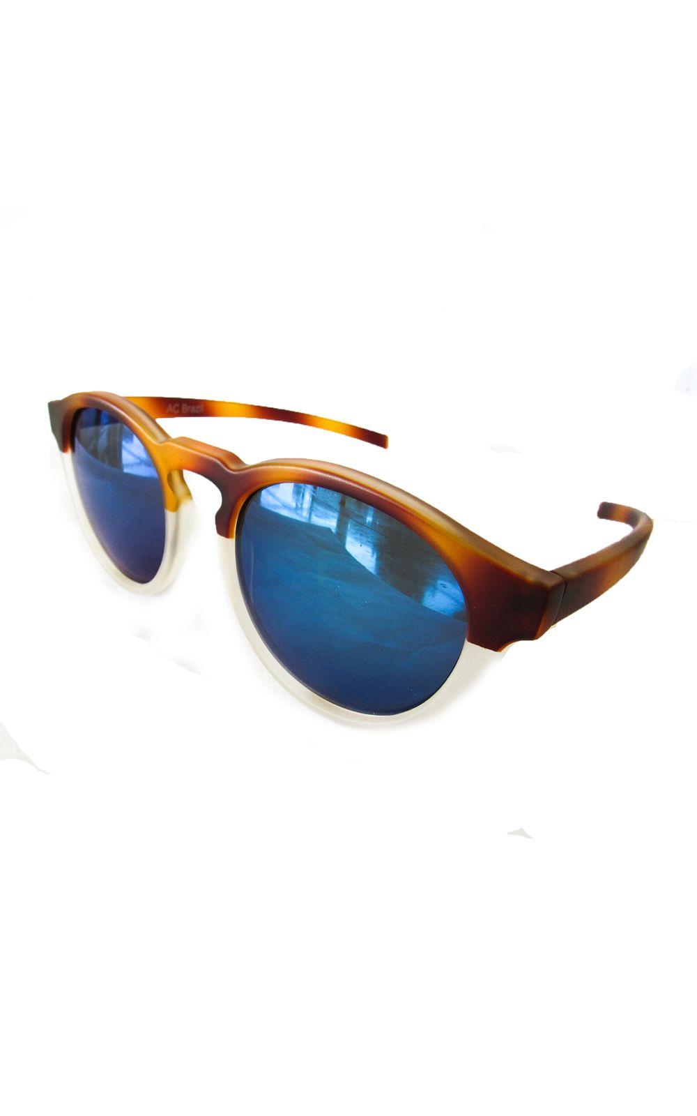 a8829e9dc4983 Óculos Redondo Caramelo-Transparente Lente Azul. undefined