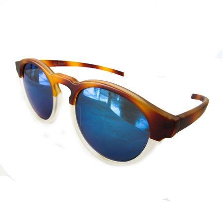 b2e7c0828dff0 Óculos Redondo Caramelo-Transparente Lente Azul