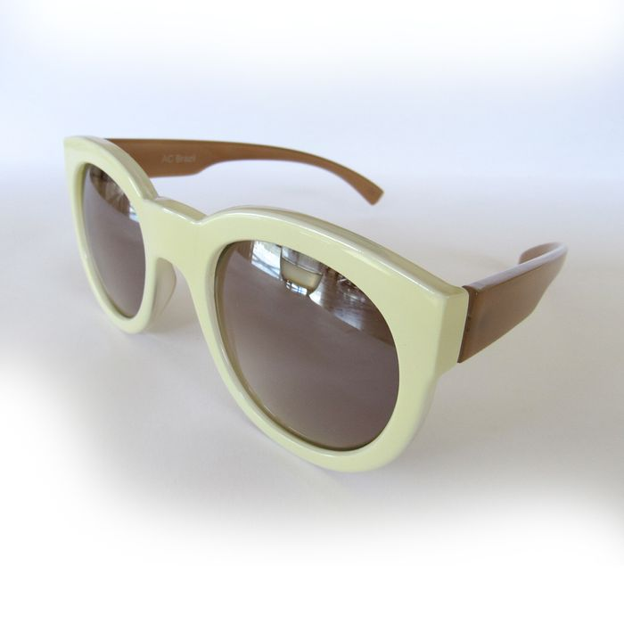 Óculos Marfim Quadrado Lente Espelhada. AC Brazil eaff9c6439